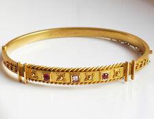 Stunning Antique Victorian 15ct Gold Diamond, Ruby & Garnet Hinged Bangle c1897