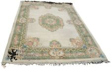 9' x 12' Traditional Aubusson Floral Rose Medallion Rug Green + Beige Wool