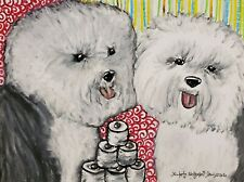 Old English Sheepdog Art Print 4x6 Dog Collectible Signed by Artist Ksams