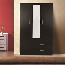 Mirrored Wardrobe, 3 Door 2 Drawer,Black,Free Assembly&Delivery
