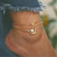 Gold Stainless Steel Pearl Star Moon Charms Anklet Foot Ankle Chain Bracelet New