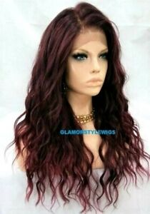 FREE PART HUMAN HAIR BLEND LACE FRONT FULL WIG LONG WAVY OFF BLACK BURGUNDY MIX