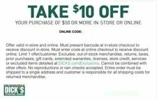 DSG Dicks Sporting Goods $10 off $50 Promo Coupon Codes