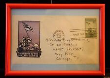 #929 IWO JIMA FIRST DAY COVER IN FRAME FOR DESK OR WALL FREE SHIPPING