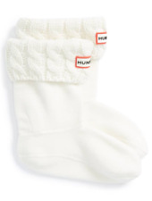Hunter Girls Natural White Cable Knit Cuff Welly Boot Socks Sz XS 5-7 8504