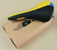 Vintage Old School GT Saddle Black-Yellow-Blue Bmx haro Skyway 90s NOS Limited