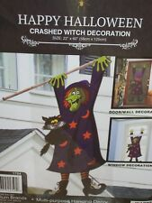 Crashed Witch 3D black cat window door cover poster Halloween party decoration