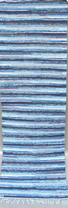 Vintage Rag Rug Scandinavian Blue Retro Handwoven, Recycled Cotton, Used