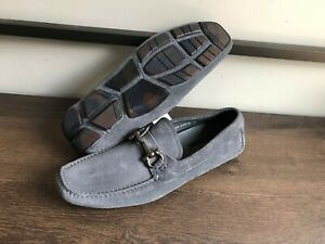 New Salvatore Ferragamo Gray Suede Gancini Bits Moc Drivers  Loafers $595