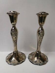 Vintage Pair Wallace Baroque Repousse Silver Plate Candle Stick Holders