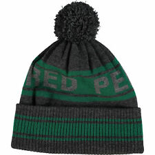 Authentic FRED PERRY Men's Grey and Green 100% Wool Beanie Hat - One Size
