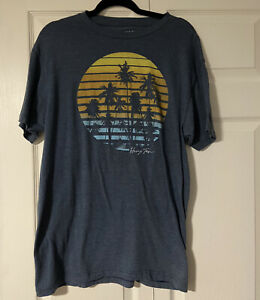 Hang Ten Men's Tropical Beach Palm Trees Crew Neck Tee T-Shirt Large L Blue