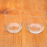2 Clear Glass Short Tumbler Water Glass Cups