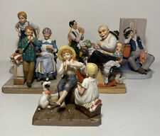 Set Of 7 Norman Rockwell Figurines + 2 Small Lithographs