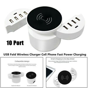10W 10 Port USB Wireless Charger Phone Fast Power Charging Pad Dock Holder Stand