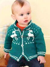 (320) 0-7yrs, Baby/ Toddler/ Boys/ Girls Reindeer Cardigan, DK KNITTING PATTERN