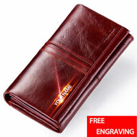 Genuine Leather Women's Wallet Long Personality Vintage Money Purse Card Holder