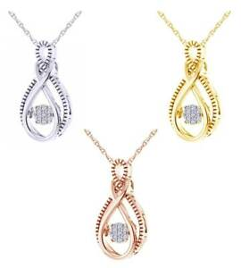 0.07 Ct Round Cut Natural Diamond Infinity Pendant In 10K Gold W/Chain