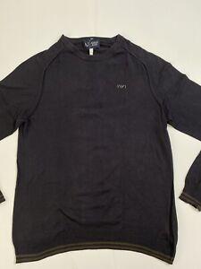Armani Jeans AJ Sweatshirt Man Navy Blue Rare Soft Slim USA L Large AJ Fashion