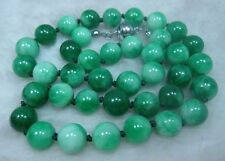 NATURE GREEN 12MM JADE BEADS JADEITE NECKLACE 18INCH