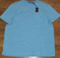 Marc Anthony Men's Slim Fit V Neck T-Shirt Linen Blend Color Maui Blue Heather