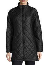 NWT $550 Eileen Fisher Quilted Jacket Coat, S, black, Fit 6 8