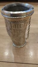 Antique Guampa Cup horn silver coated 800 Yerba Mate Gourd