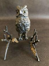 Antique Owl Ink Well & Pen Holder Glass Eyes England RARE