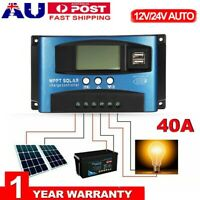 40A Solar Panel Charge Controller 12V 24V Regulator Auto Dual USB Mppt Battery