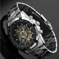 Men's Skeleton Dial Stainless Steel Self-Wind Up Mechanical Automatic Wristwatch