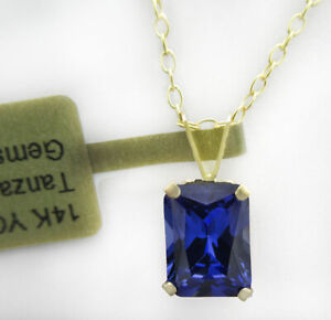 AAA  2.06 Cts TANZANITE PENDANT 14k YELLOW GOLD * New With Tag *
