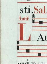 Manoscritto antico CAPOLETTERA L rosso ANTIFONARIO MUSICA 1850 ca. Drop Cap