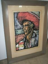 Vintage Original Art Painting Figure Mexican Latin Signed WH Smith 1948