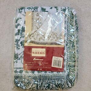 "Vintage Waverly Fieldcrest Throw Blanket English Ivy 50"" X 68"" Loom Woven Cotton"