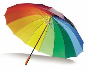 Large and Bright Multi-coloured Rainbow Golf Umbrella 16 Panel Manual Wedding UK