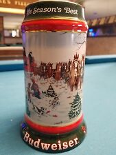 1991 Anheuser Busch AB Budweiser Bud Holiday Christmas Beer Stein Clydesdales