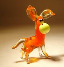 Blown Glass Figurine Art Animal Small Orange DONKEY