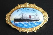 ALLAN LINE RMS TUNISIAN RARE FINE GILT HAND PAINTED ENAMEL PIN BOUGHT ONBOARD