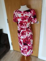 Ladies BM Dress Size 12 Pink White Stretch Wiggle Party Evening Wedding Races