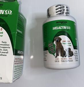 Nutramax Welactin 3 - Canine 120 - Softgel Caps OMEGA 3 FOR DOGS EXP 11/23