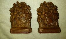 """Vintage Pair Syroco Wood Ornate Carved Acorns & Oak Leaves 7 1/4"""" Book Ends"""