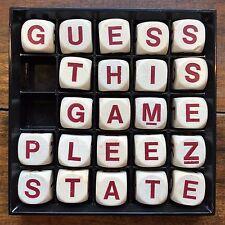 Vtg 1979 BIG BOGGLE 23 WOOD Wooden ALPHABET GAME DICE 6-Sided White~Red Letters
