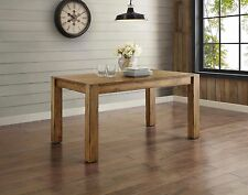 Rustic Solid Wood Dining Table Farm House Style Desk Block Leg Vintage Look