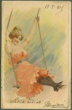 Cartolina d'epoca a rilievo. Fanciulla sull'altalena. Viaggiata nel 1905