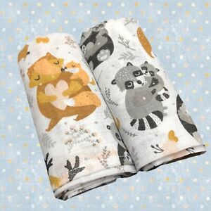 2 Pack Muslin Squares 100% Cotton Baby Soft Swaddle Cloths Nappy Bibs 80x70cm