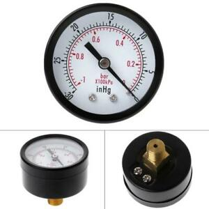 "Mini Air Vacuum Pressure Gauge 50mm Pressure Meter -1bar -30inHg 1/4"" Back Mount"