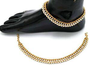 Indian Gold Kundan Bridal Anklets Ankle Bracelet Set For Women Gold Wedding