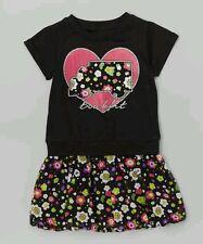 Trukfit Girls Set Black & Pink Logo Heart Top Bubble dress Size 24 Months