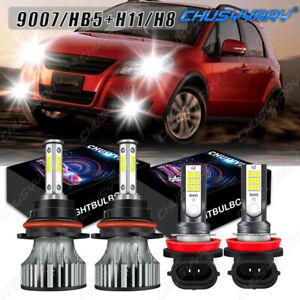 For Suzuki SX4 Crossover 2012 2007-2013 - 4X 6000K LED Headlight +Fog Light Bulb
