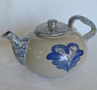 BBP Heart Teapot Beaumont Brothers Pottery Spatterware Blue Gray Coffee Pot USA